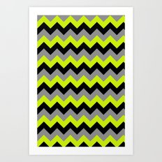 Chevron Silver Lime Art Print