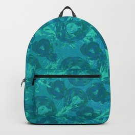 Abstract Poppy Pattern Blue Backpack