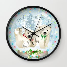 Snow globe bears Wall Clock