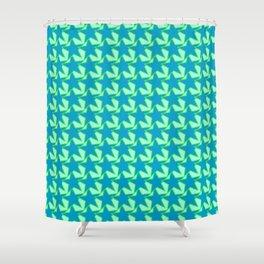 Modern Star Geometric Pattern, Jade Green and Blue Shower Curtain