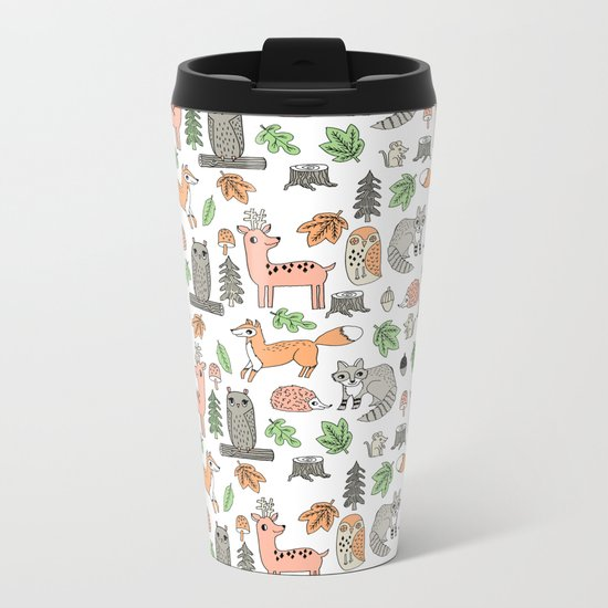 Woodland foxes rabbits deer owls forest animals cute pattern by andrea lauren Metal Travel Mug