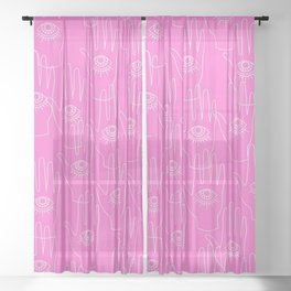 Pink Retro Hands Sheer Curtain