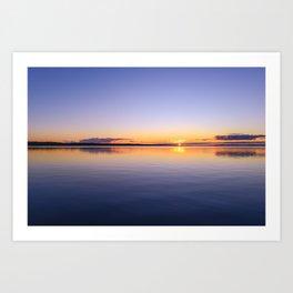 Sunset on the horizon over water Art Print