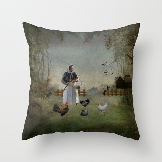 Collecting the Eggs Throw Pillow