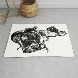 Woman Motorcycle Rider Rug