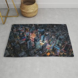 Colorful Times Square Aerial View - New York City Landscape Painting by Jeanpaul Ferro Rug
