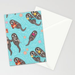 Otters Playing Aquamarine Stationery Cards