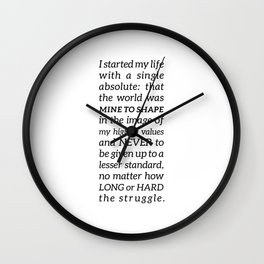 Single Absolute Ayn Rand Atlas Shrugged Quote Wall Clock