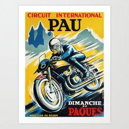 Grand Prix de Pau, Race poster, vintage motorcycle poster, retro poster, Art Print