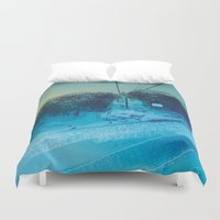 ski Duvet Covers featuring Ski Mountain by Doreen Marts