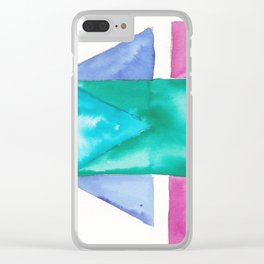180819 Geometrical Watercolour 4| Colorful Abstract | Modern Watercolor Art Clear iPhone Case