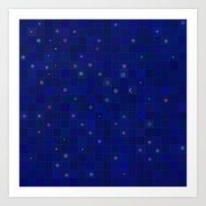 Midnight Moon and Stars Abstract Art Print