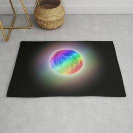 Glowing Rainbow Gradient Full Moon  Rug