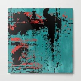 Grunge Paint Flaking Paint Dried Paint Peeling Paint Teal Red Black Metal Print
