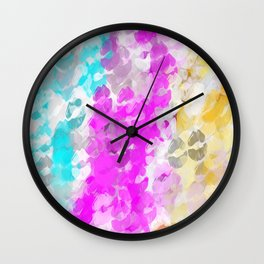 pink blue and orange kisses lipstick abstract background Wall Clock
