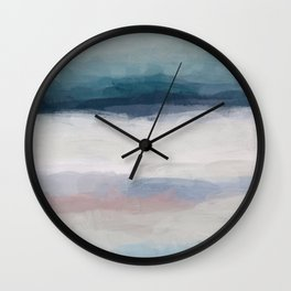 Dark Teal Blue, White, Pink, Light Blue Modern Wall Art, Ocean Waves Diptych Nursery Beach Decor Art Wall Clock