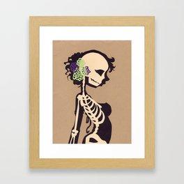 Skeleton with flowers Framed Art Print