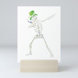 St Patricks Day Dabbing Skeleton Irish Holiday Skull Dab Mini Art Print