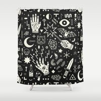 laptop Shower Curtains featuring Witchcraft by LordofMasks