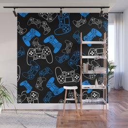 Video Games Blue on Black Wall Mural