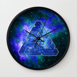 Triangle Blue Space With Nebula Wall Clock