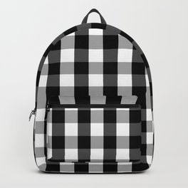Large Black White Gingham Checked Square Pattern Backpack