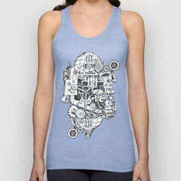 DINNER TIME FOR THE ROBOT Unisex Tank Top