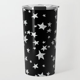 Linocut black and white stars outer space astronauts minimal Travel Mug