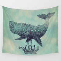 whales Wall Tapestries featuring Tea at 2,000 Feet by Eric Fan