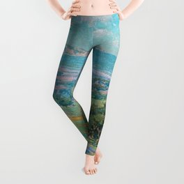 Malibu Coast, California with wild poppies floral seascape painting by Granville Redmond Leggings