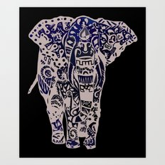 Seamless Elephant Art Print