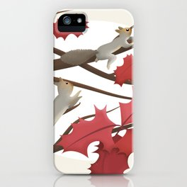 Autumn, squirrels and red leaves iPhone Case