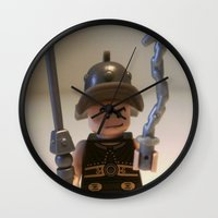 gladiator Wall Clocks featuring Gladiator 'Cracalla the Gladiator' LEGO Custom Minifigure by Chillee Wilson by Chillee Wilson [Customize My Minifig]