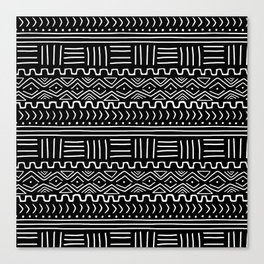 Mud Cloth on Black Canvas Print