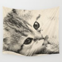 kitten Wall Tapestries featuring Kitten by Augustinet
