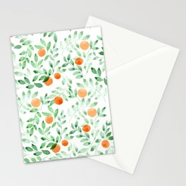 Watercolor orange fruits and leaves seamless pattern Stationery Cards