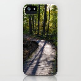 Boardwalk through the forest in southern Ontario iPhone Case