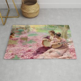 """Classical Masterpiece """"The Rose Festival"""" by Henry Siddons Mowbray Rug"""