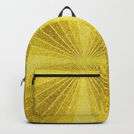 Geometric gold glitter mosaic, diagonal sun rays, gold abstract sparkles Backpack