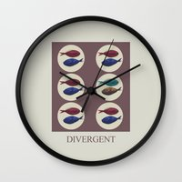 divergent Wall Clocks featuring Divergent by Galen Valle