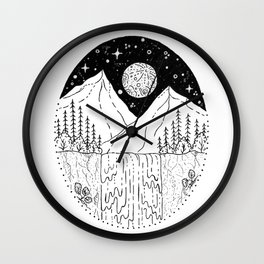 Mountainous Woodland Waterfall Scene Wall Clock
