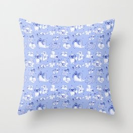 Love Is Stored in The Shih Tzu repeating pattern (blue) Throw Pillow