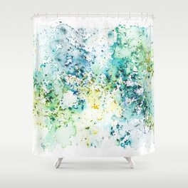Green Watercolour Rain Shower Curtain