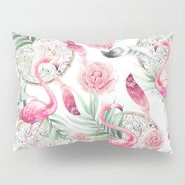 Flowered boho with flamingos Pillow Sham