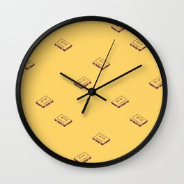 Cassette Pattern- Yellow Wall Clock