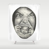 fear and loathing Shower Curtains featuring Fear by Magdalena Almero