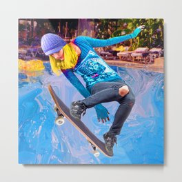Skateboarding on Water Metal Print