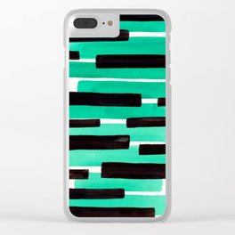 Pastel Teal Primitive Stripes Mid Century Modern Minimalist Watercolor Gouache Painting Colorful Str Clear iPhone Case