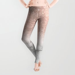Modern faux rose pink glitter ombre white marble Leggings