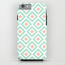 Mint and Coral Diamonds Ikat Pattern iPhone Case